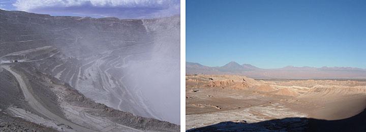 Chuquicamata-Mine (links), Atacama-Wüste mit den Anden (rechts)
